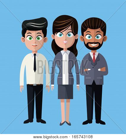 cartoon woman and men business company team vector illustration eps 10