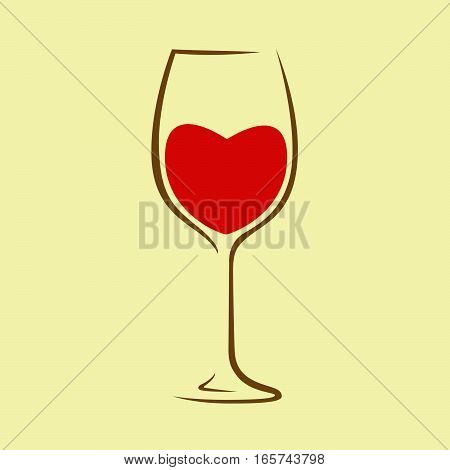 Red wine in the shape of a heart in a wine glass. Vector image.