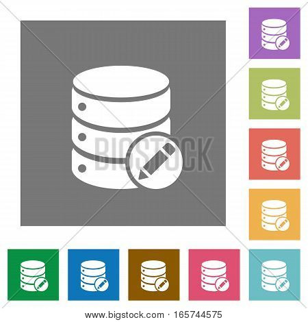 Edit database flat icons on simple color square backgrounds