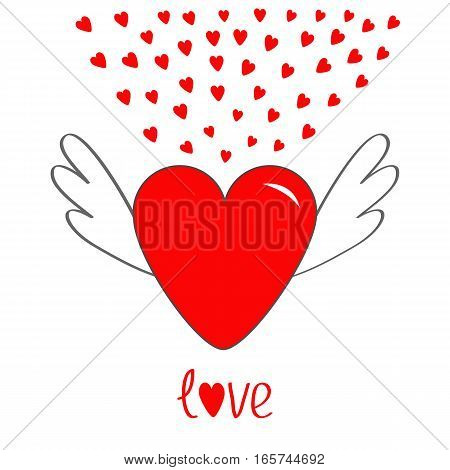 Red heart with wings. Cute cartoon contour sign symbol. Winged shining angel small hearts. Flat design style. Love text Greeting card. Isolated. White background. Vector illustration