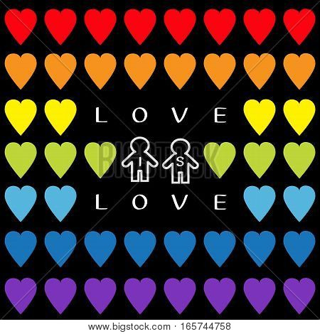 Love is love text. Rainbow heart set. Gay marriage Pride symbol Two contour man sign Seamless Pattern. Lgbt sign symbol. Black background. Isolated. Flat design. Vector illustration