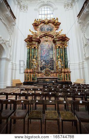 SALZBURG AUSTRIA - APRIL 29 2016: Interior of Collegiate or University Church in Salzburg Austria