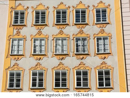 Facade of building in the historic centre of Salzburg. Austria