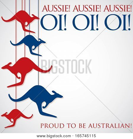 Hanging Kangaroo Australia Day Card In Vector Format.
