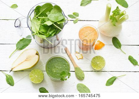 Fruits, vegetables, smoothie, blender, abstract health diet lifestyle concept
