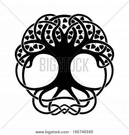 Celtic national ornament tree with leaves in the shape of a circle. Black ornament isolated on white background.
