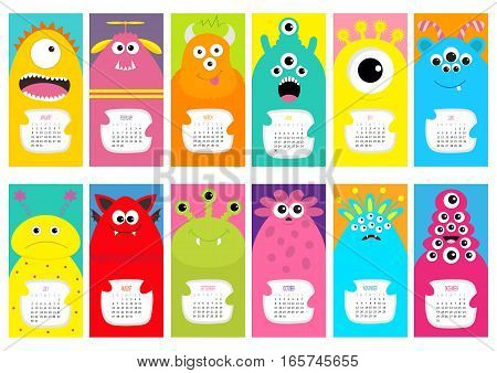 Monster vertical monthly calendar 2017. Cute funny cartoon character set. All month. Flat design. Vector illustration