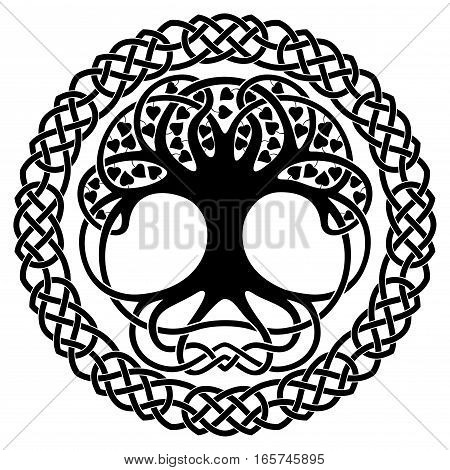 Celtic national ornament tree in the shape of a circle. Black ornament isolated on white background.