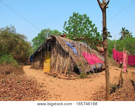 Poor indian house on the ocean beach