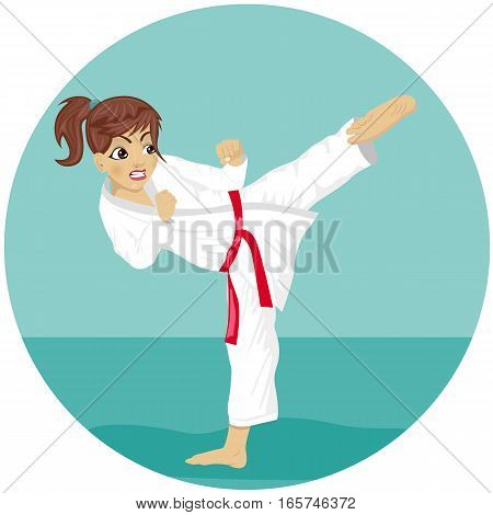 Young angry teenager red belt karate girl in kimono practicing kick exercise