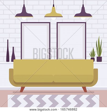 Retro interior original mid-century modern loft room, custard sofa, potted plants, wall frames for copyspace and mock up. Hotel accommodation or home cozy living space. Interior illustration