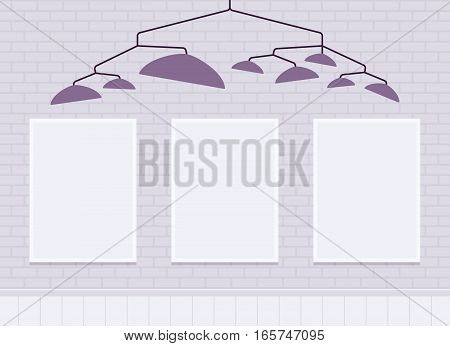 Three vertical wall frames on white brick wall for copyspace and mock up under metal pendant lamp shade. Exhibition, presentation area, commercial ad or home decoration. Interior illustration