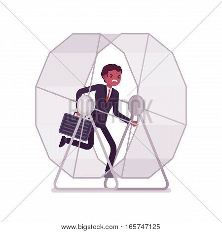 Frustrated businessman with a case in a runnig wheel, keeps running in circles of routine, making the same mistakes in business, non progressing every day job, like a hamster doing useless activity
