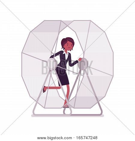 Frustrated businesswoman wearing formal wear in a runnig wheel , can not stop thinking about a problem, unable to get off of the wheel, crazy schedule