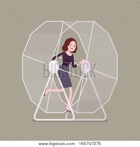 Frustrated businesswoman wearing formal wear caught in a cycle that feels a lot like running on a hamster wheel, unable to get off the wheel and get on with normal life and healthy relations