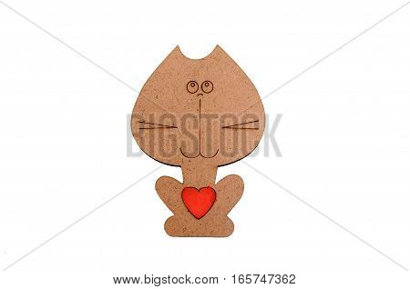 wooden cat with red heart isolated on white background