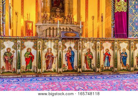VAGHARSHAPAT ARMENIA - MAY 30 2016: The icons of the Main Altar of Etchmiadzin Mother Cathedral on May 30 in Vagharshapat.