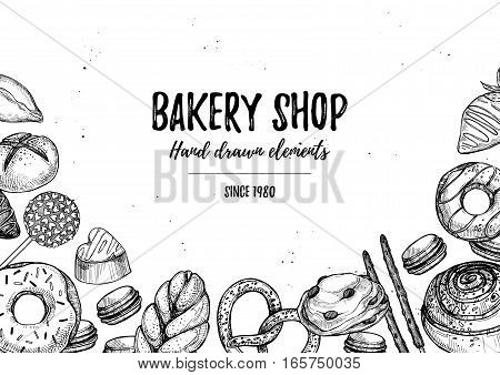 Hand Drawn Vector Illustration - Collection Of Goodies, Sweets, Buns And Pastries. Background In Ske