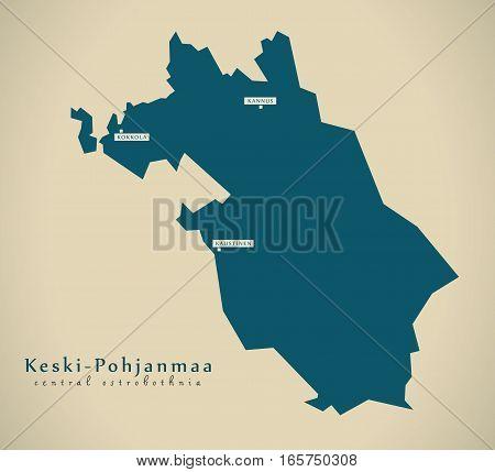 Modern Map - Central Ostrobothnia Finland Fi Illustration