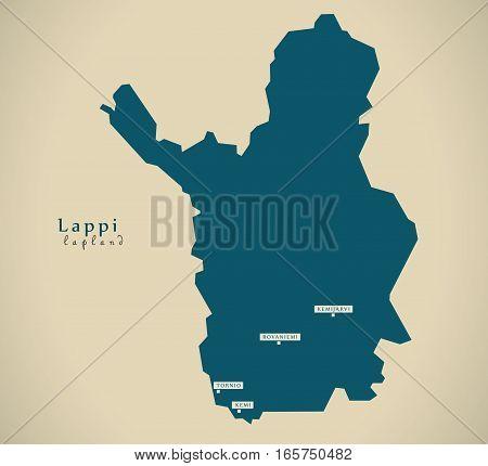 Modern Map - Lapland Finland Fi Illustration