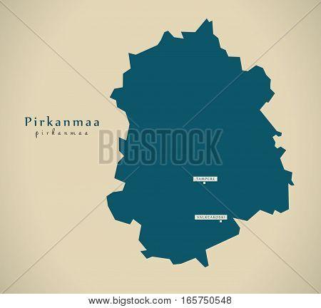 Modern Map - Pirkanmaa Finland Fi Illustration