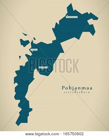Modern Map - Pohjanmaa Finland Fi Illustration