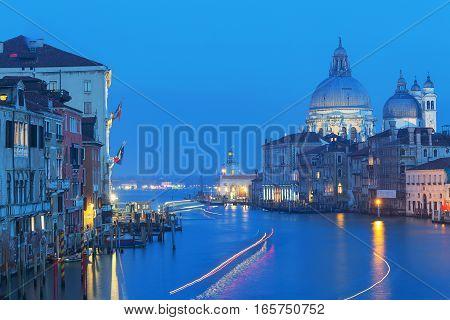 Grand Canal and Basilica Santa Maria della Salute in sunset time Venice Italy