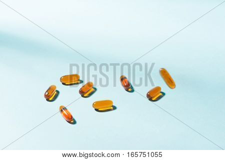 Gel Capsules. Vitamin A E fish oil primrose oil rice barn oil and other oily drugs.