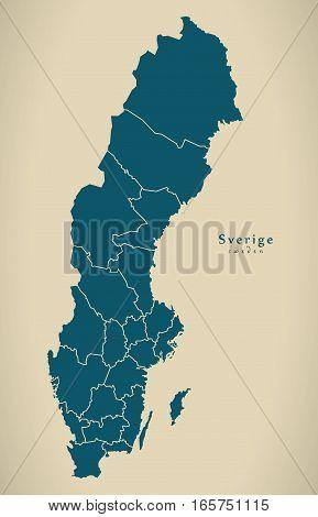 Modern Map - Sweden With Regions Se Illustration