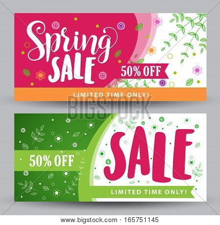 Spring sale banners with different colorful designs for spring seasonal promotions with plants and flowers elements and decoration in white background. Vector illustration.