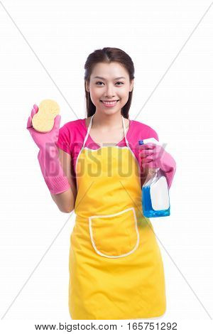 Portrait Of Happy Young Asian Maid Cleaning Glass With Sponge