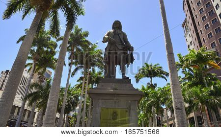 Monument At The City Park In Port Louis
