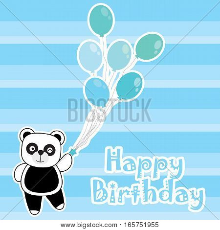 Birthday card with cute panda brings blue balloons suitable for birthday greeting card, invitation card, and postcard