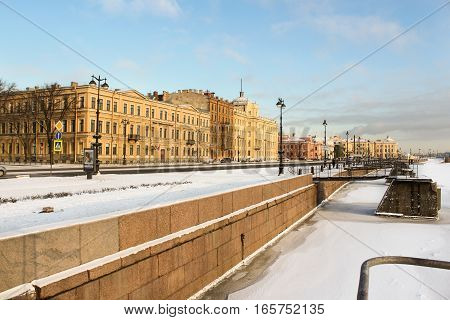 St. Petersburg, Russia - 6 January, Naval Academy named after Fleet Admiral Kuznetsov, 6 January, 2017. Winter frosty sunny day in St. Petersburg.