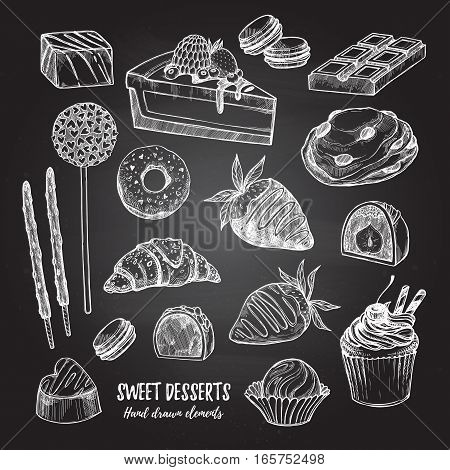 Hand Drawn Vector Illustration - Collection Of Goodies, Sweets, Cakes And Pastries. Design Elements