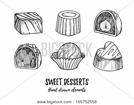 Hand Drawn Vector Illustration - Set Of Chocolate Candies With White And Milk Chocolate And Nuts. De