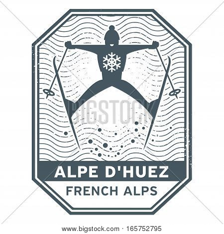 Abstract stamp or emblem with the name of town Alpe Dhuez in France vector illustration