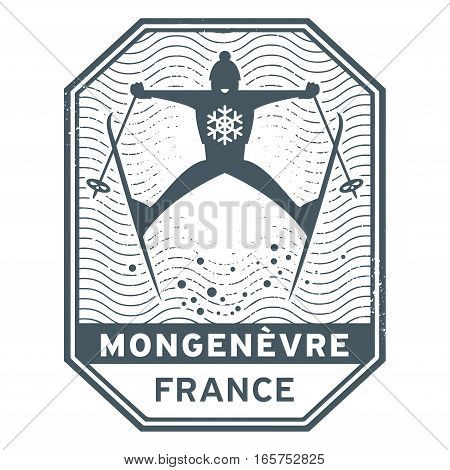 Abstract stamp or emblem with the name of town Mongenevre in France vector illustration
