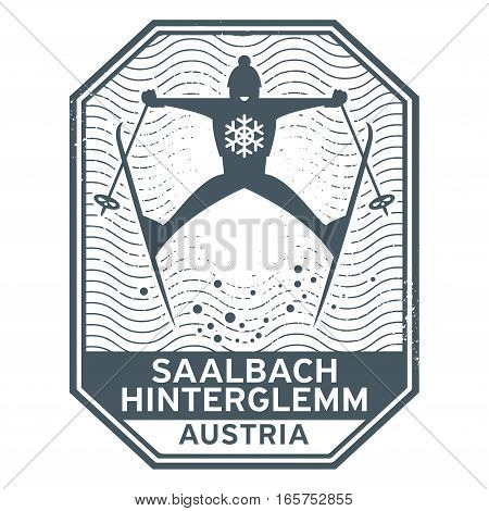 Abstract stamp or emblem with the name of town Saalbach Hinterglemm in Austria vector illustration