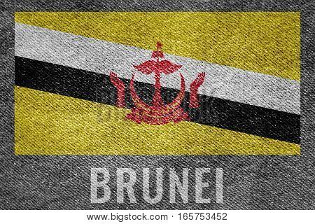Brunei Nation Flag On Jean Texture Design