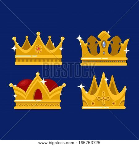 Isolated royal queen or king crown, pope tiara and antique princess or prince headdress. Monarchy heraldry diadem sign or game award design, jewelry and luxury, medieval theme