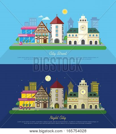 City street vector illustration at day and night. Urban city landscape web banners set. Building architecture in unusual fashionable design. Modern town. Metropolis panorama. Flat style poster