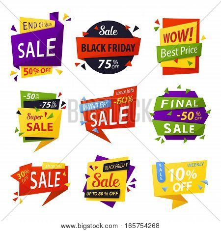Retail sale tag for black friday price discount. Advertising sticker for sale promotion or announcement, sell badges for retail promo or clearance trading. Shop and store, supermarket theme