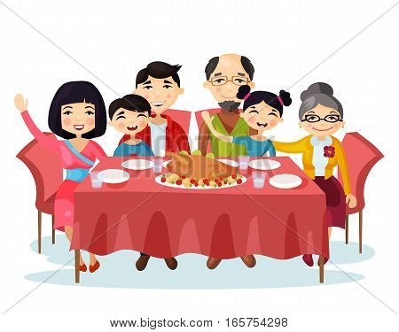 Holiday dinner with turkey of cartoon family. Kids or children with parents sitting at table during celebration or holiday eating food. Portrait of relatives with father and mother, sister and brother