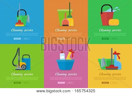 Set of cleaning service web banners. Flat style. House cleaning vector concepts with broom, vacuum cleaner, sponge, sprayer and household chemicals. Illustration for housekeeping online services