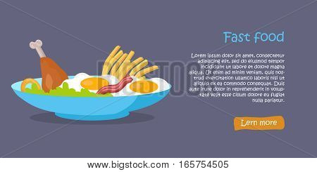 Tasty fast food banner. French fries, fried eggs, chicken leg and green salad leaves in blue plate on purple background. Different food products. Fast food menu. Vector illustration. Website template