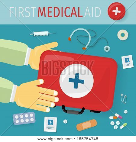 First medical aid kit and its content. Thermometer pills drugs stethoscope plaster safety pins syringe. Equipment, medicine and hospital, healthcare and pharmacy, emergency and care. Vector