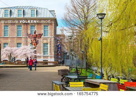 Leiden, Netherlands - April 7, 2016: Volkenkunde museum and spring blooming trees in Leiden, Holland, Netherlands