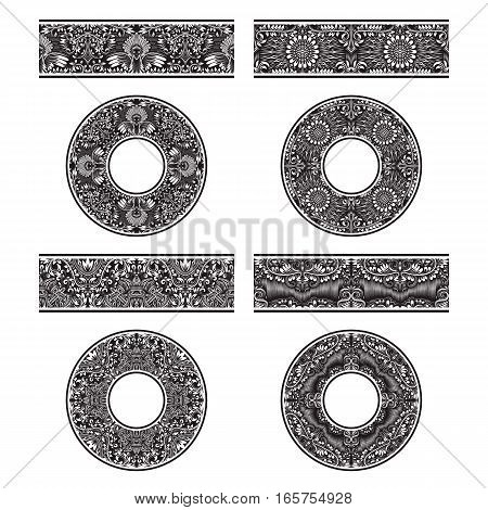 Floral patterned vector brushes templates and round decorations in vintage style.