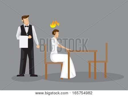 Angry woman sitting alone in a restaurant with a waiter standing behind her. Vector illustration isolated on grey background.